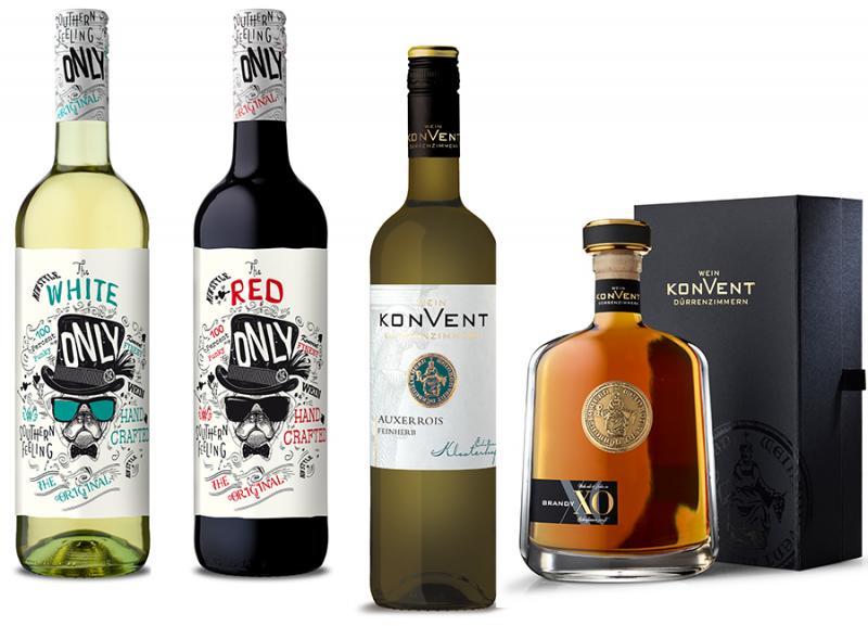 Only White, Only Red, Auxerrois und Brandy XO des Weinkonvents Dürrenzimmern