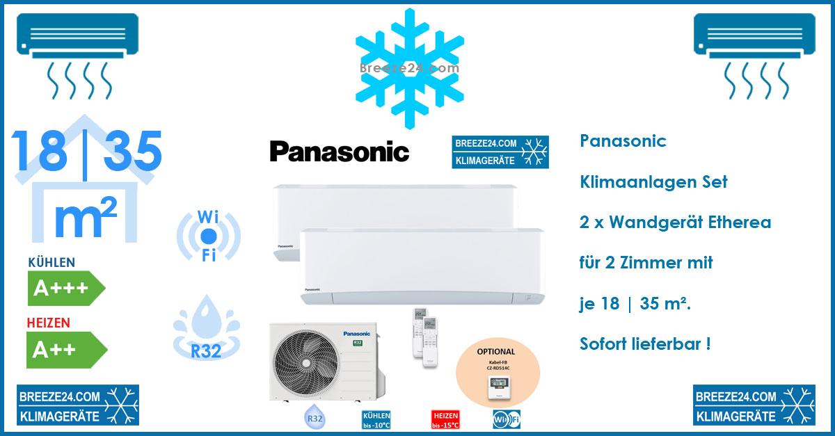 Panasonic Klimaanlage Wandgeräte - CS-MZ16VKE + CS-Z35VKEW + Außengerät CU-2Z35TBE R32 für 2 Zimmer